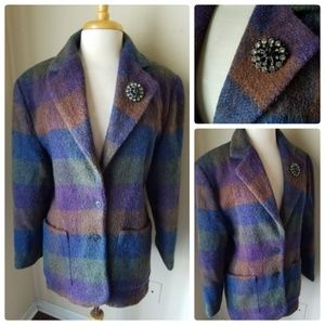 Woolrich Women's Plaid Wool Mohair Coat & Brooch